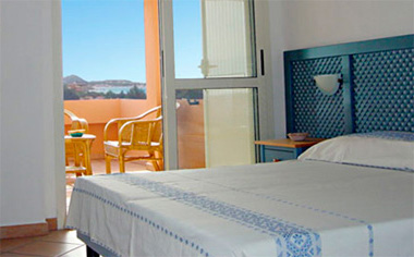 bedroom of the 2-room apartments of Residence la Chimera in Villasimius, Sardinia